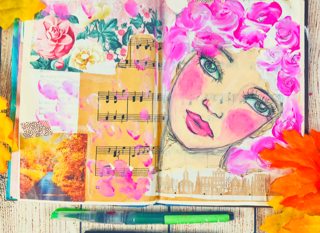 How to start an art journal page in an old book