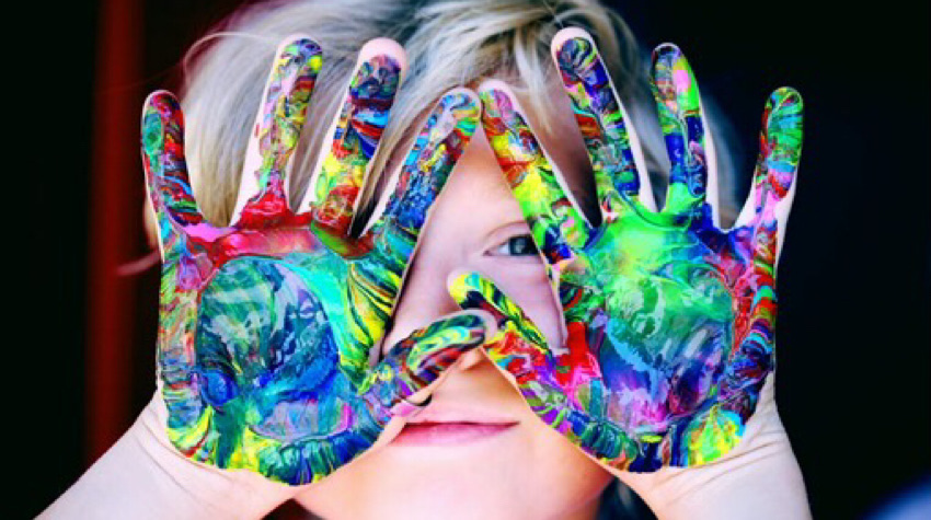 Messy paint hands