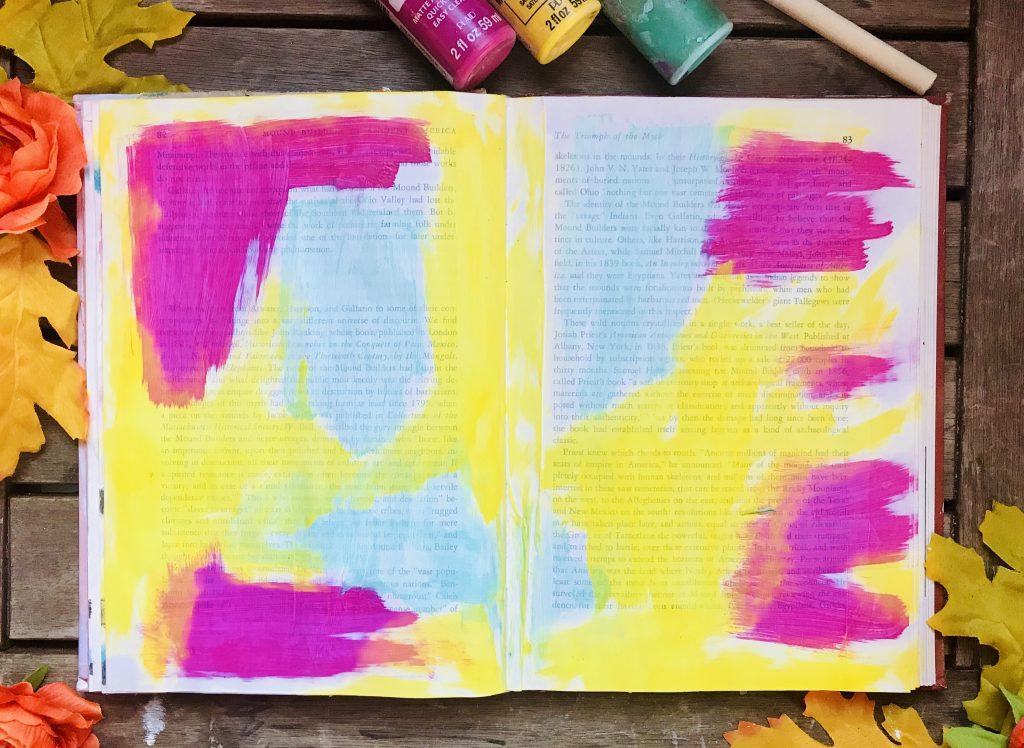 Art joirnalmpage in ol book altered book art journal