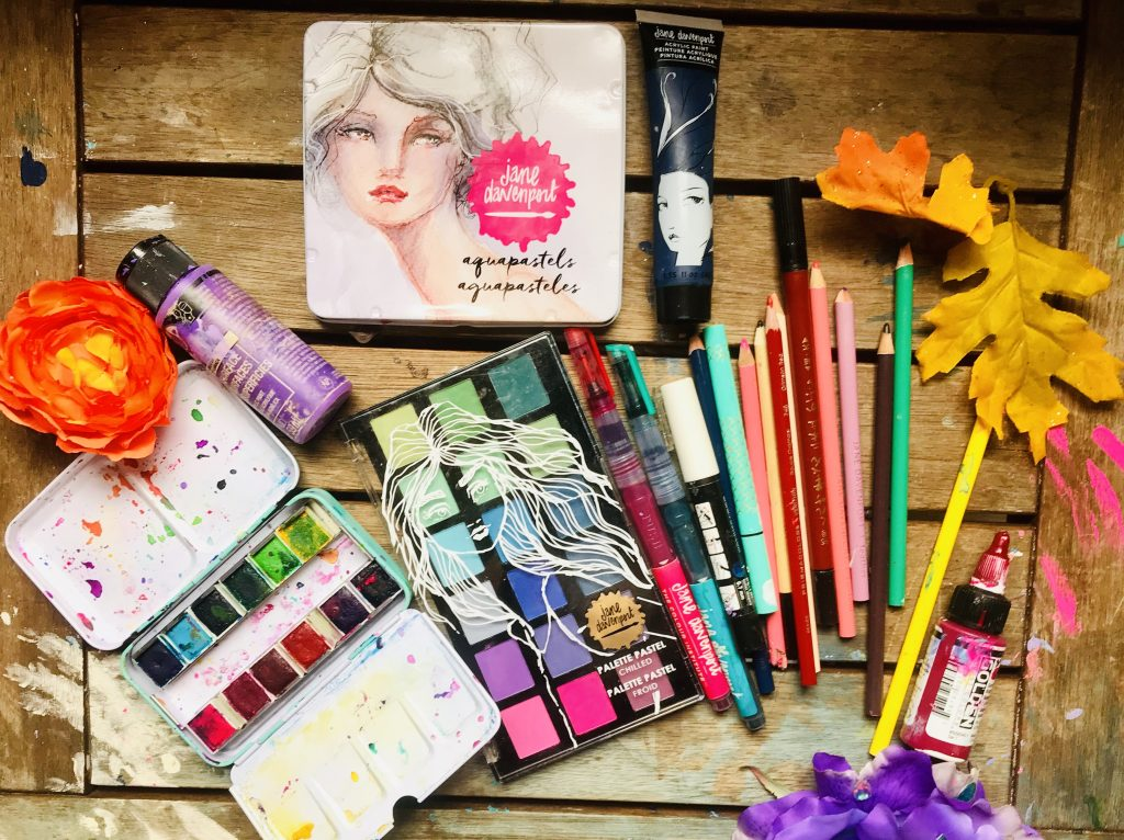 Supplies for art journal page