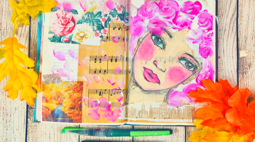 Art journal mixed media page