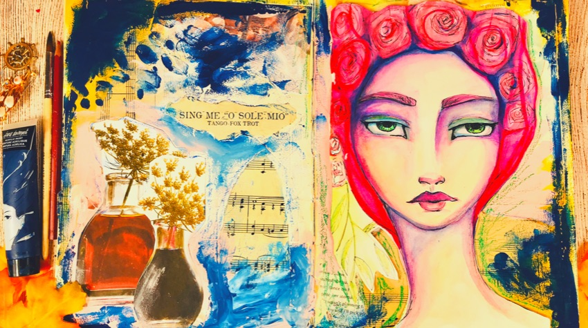 Art journal page of whimsical l