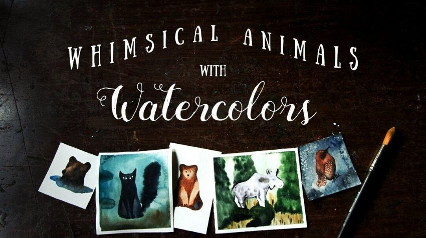 Whimsical animals watercolor illustration class