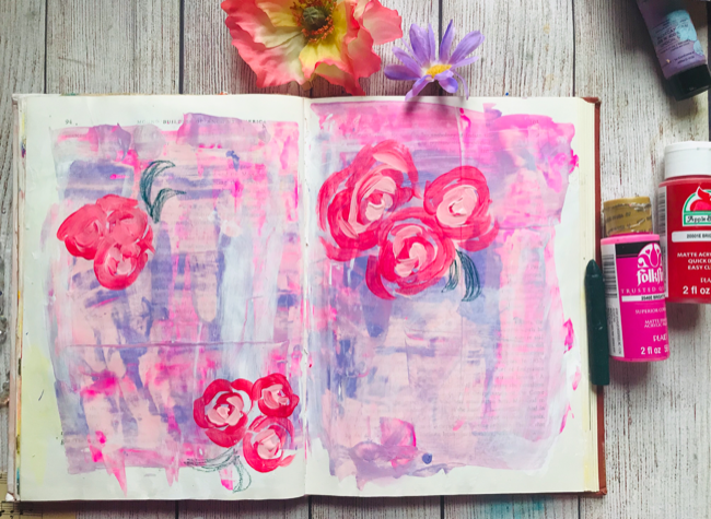 Acrylic flowers art journal page