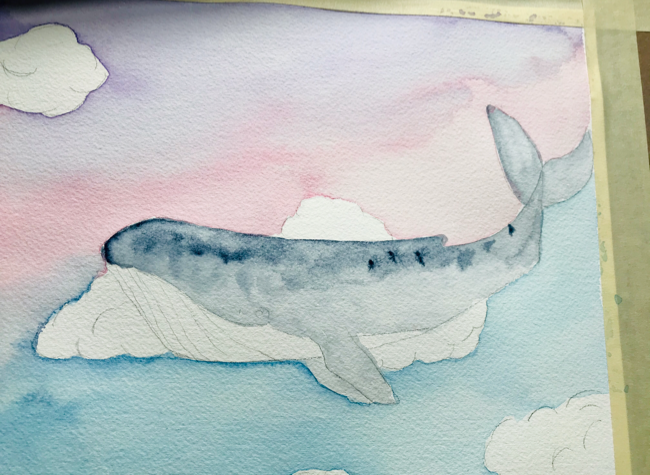 Watercolor sky whale painting indigo