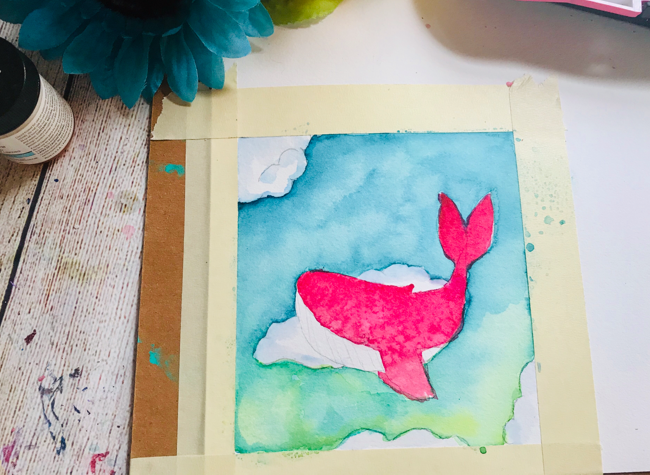 Watercolor whale tutorial