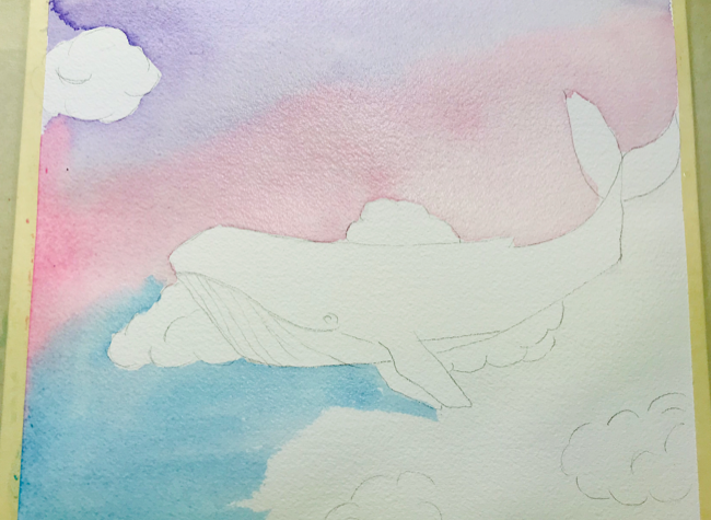 Watercolor sky whale blended layers