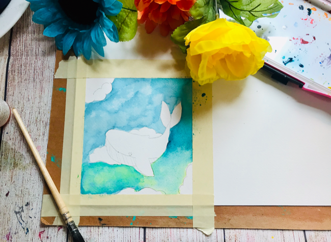 Watercolor Sky Whale Tutorial yellow wash