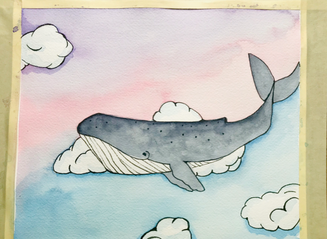 Ink outline watercolor whale