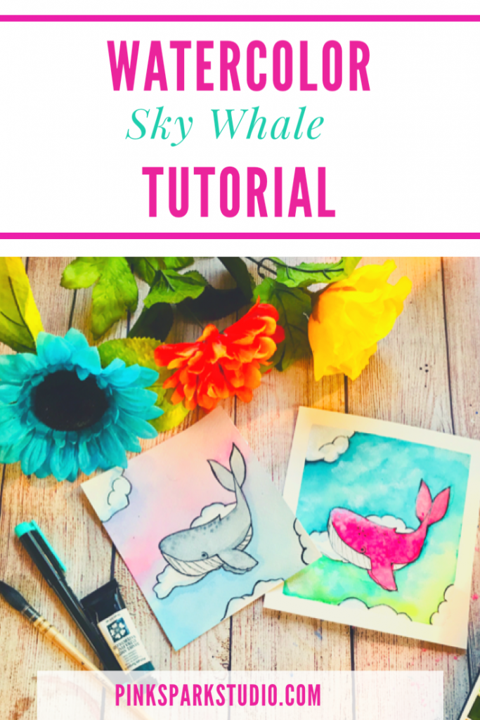 Watercolor sky whale tutorial
