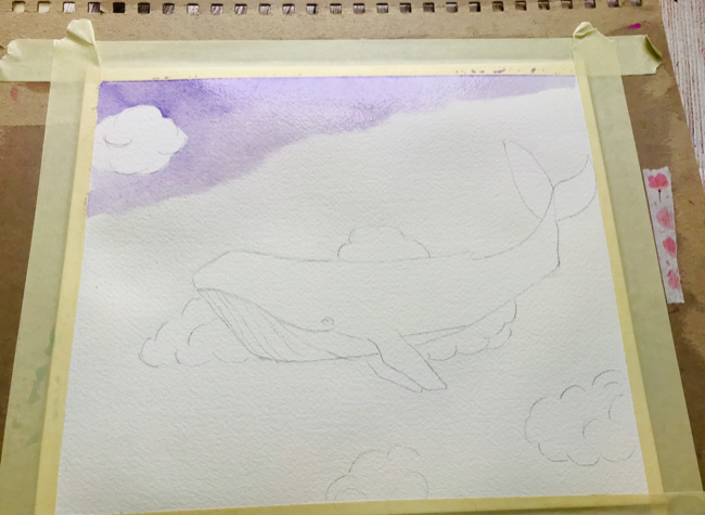 Watercolor sky whale layer