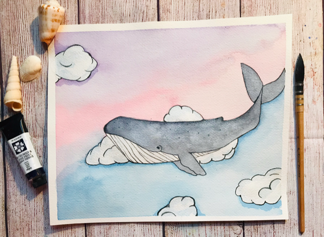 Watercolor whale shimmer paint