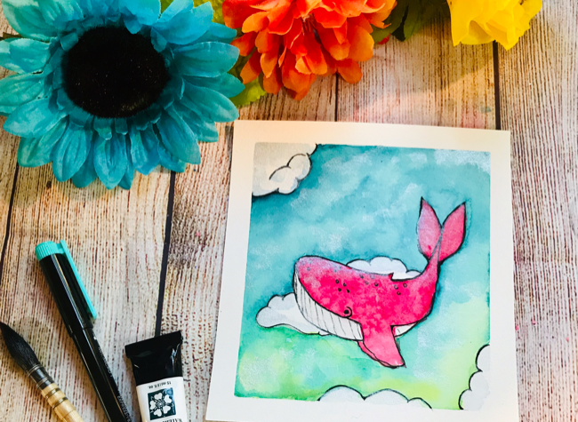 Watercolor sky whale