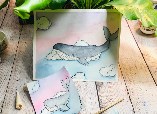 Watercolor whale t