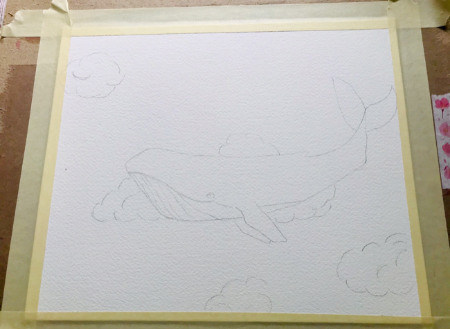 Watercolor whale outline
