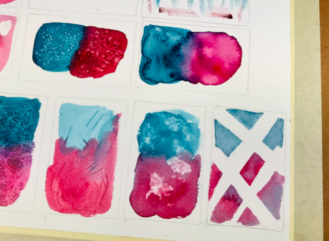 Watercolor painting with tape