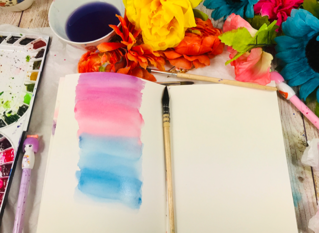 Watercolor blended background wash