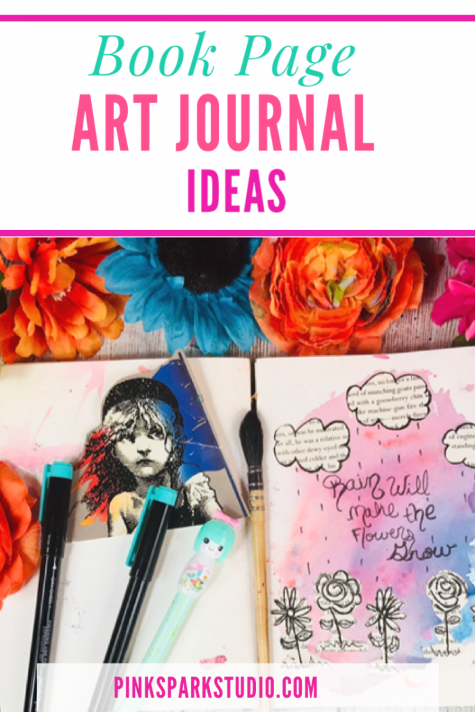 Art journal with book pages
